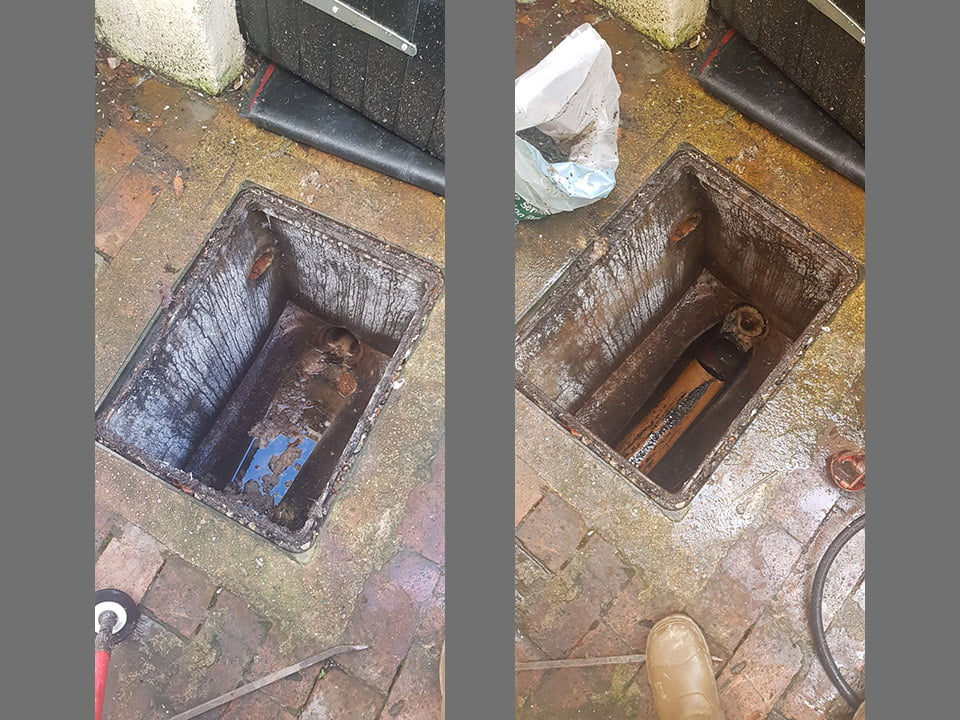 Before and after photos of drain cleaning