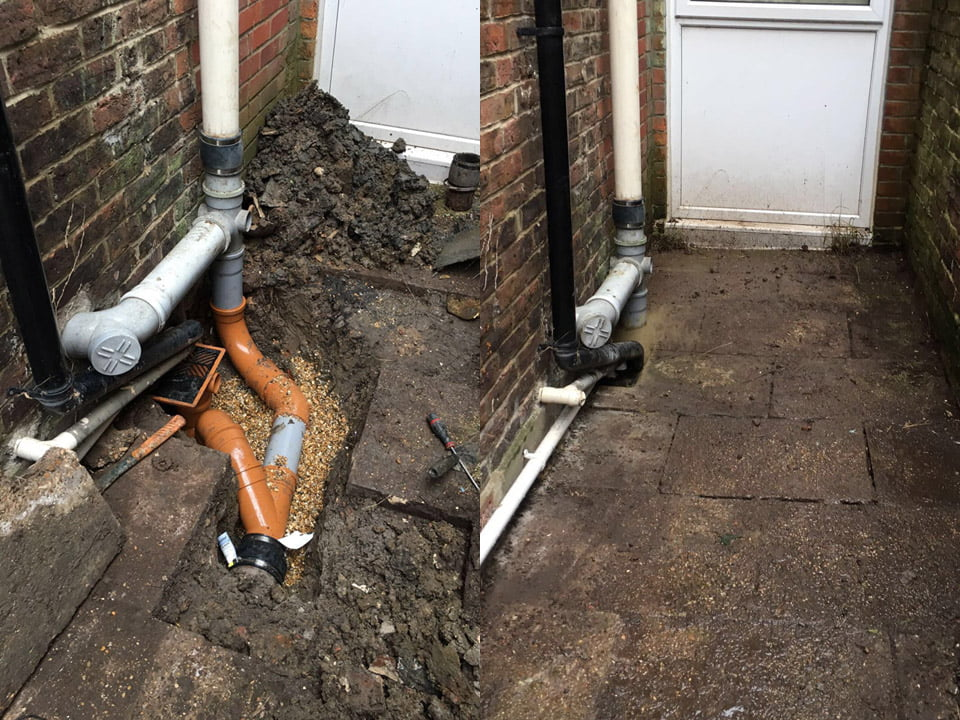 Before and after photos of domestic drain work